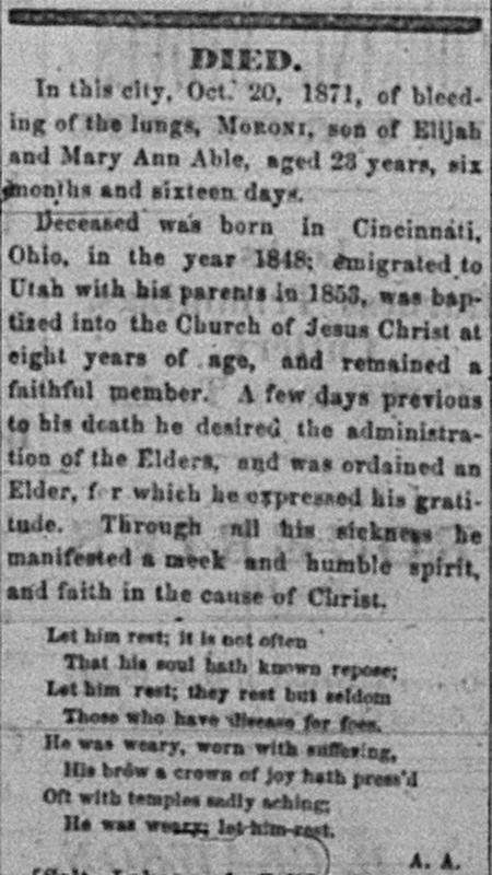 Moroni Able Obituary