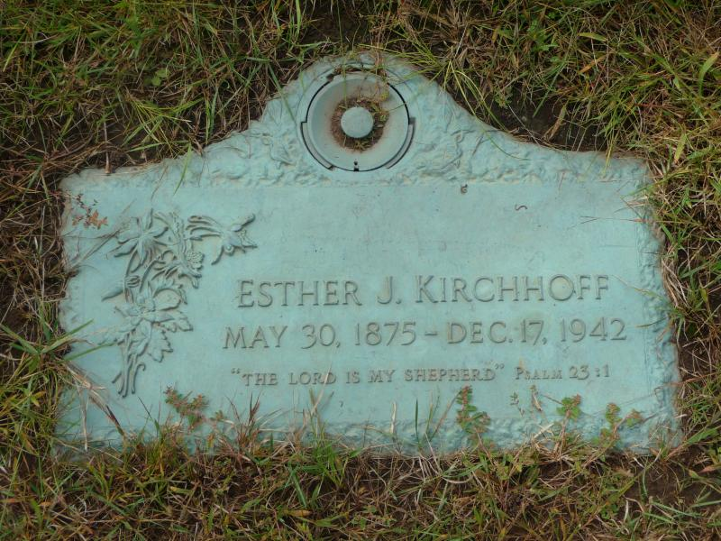 Esther Jane Nettie Scott Kirchhoff, grave marker