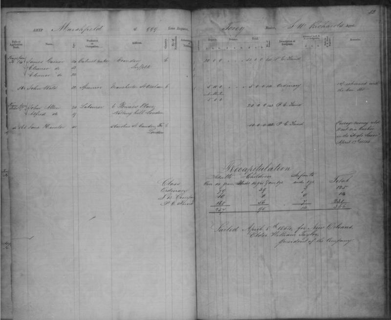 Jane Hunter Emigration Record