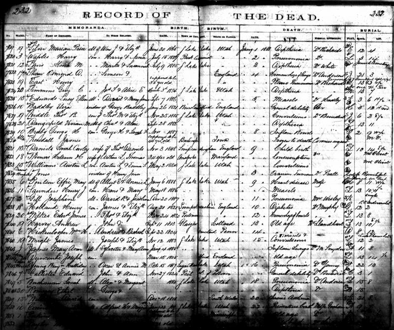 Mary Ann James Death Record