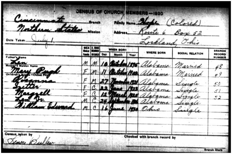 Roseanna Hope 1930 LDS Census Record