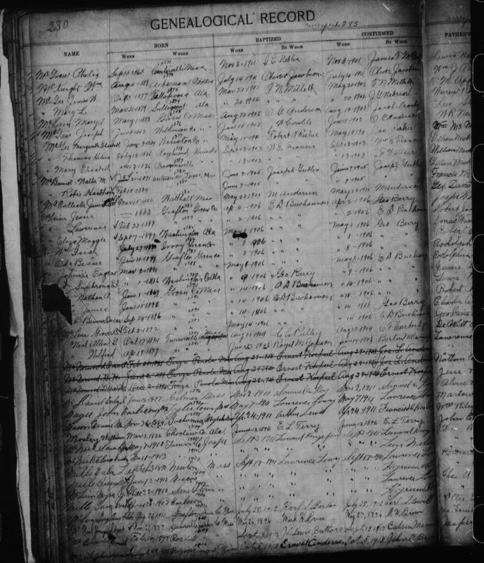 John Earlie Magee Baptismal Record