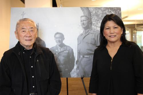 Judge Raymond Uno and archivist Lorraine Murakami Crouse