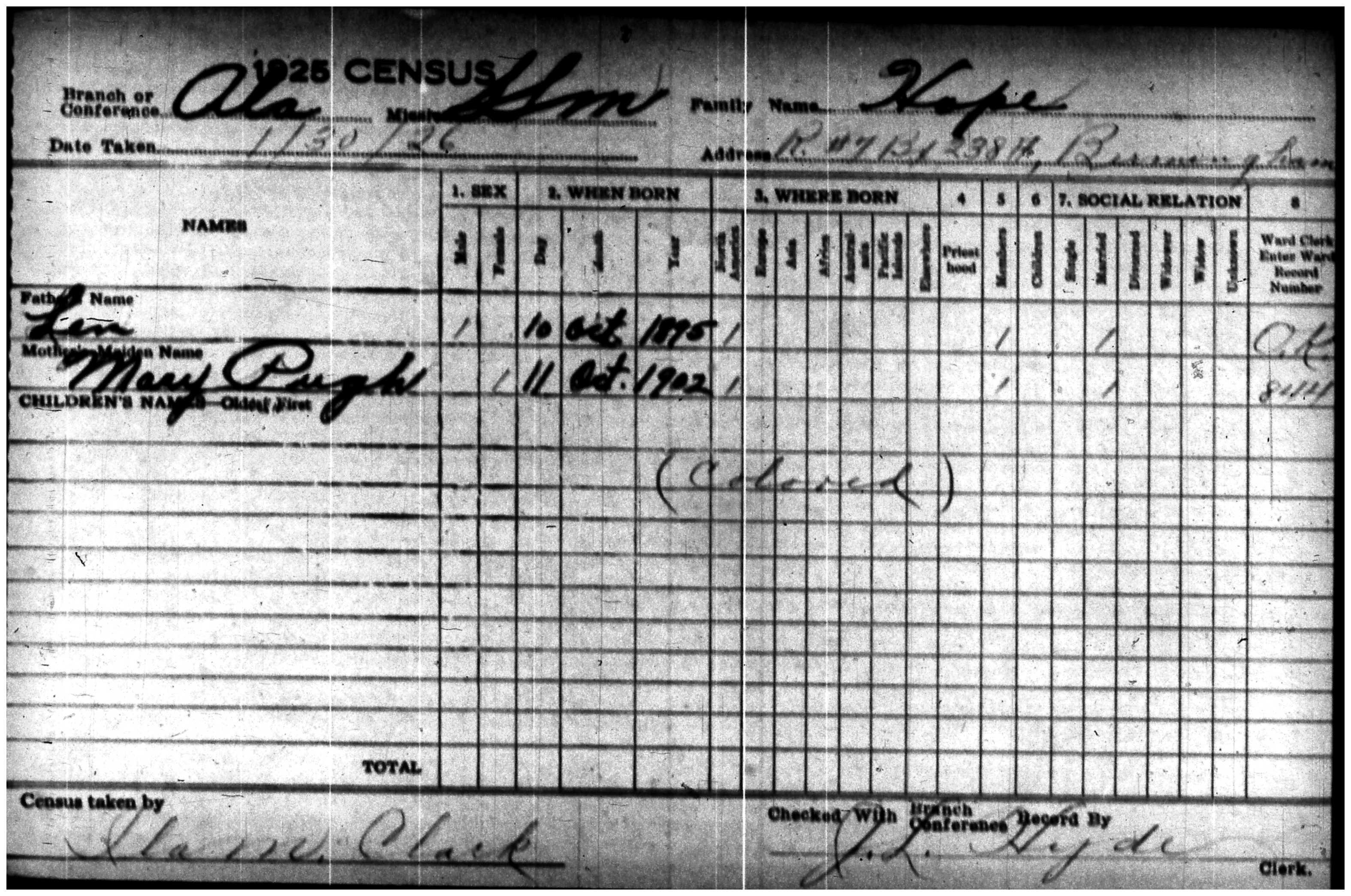 Len Hope, 1925 LDS Census