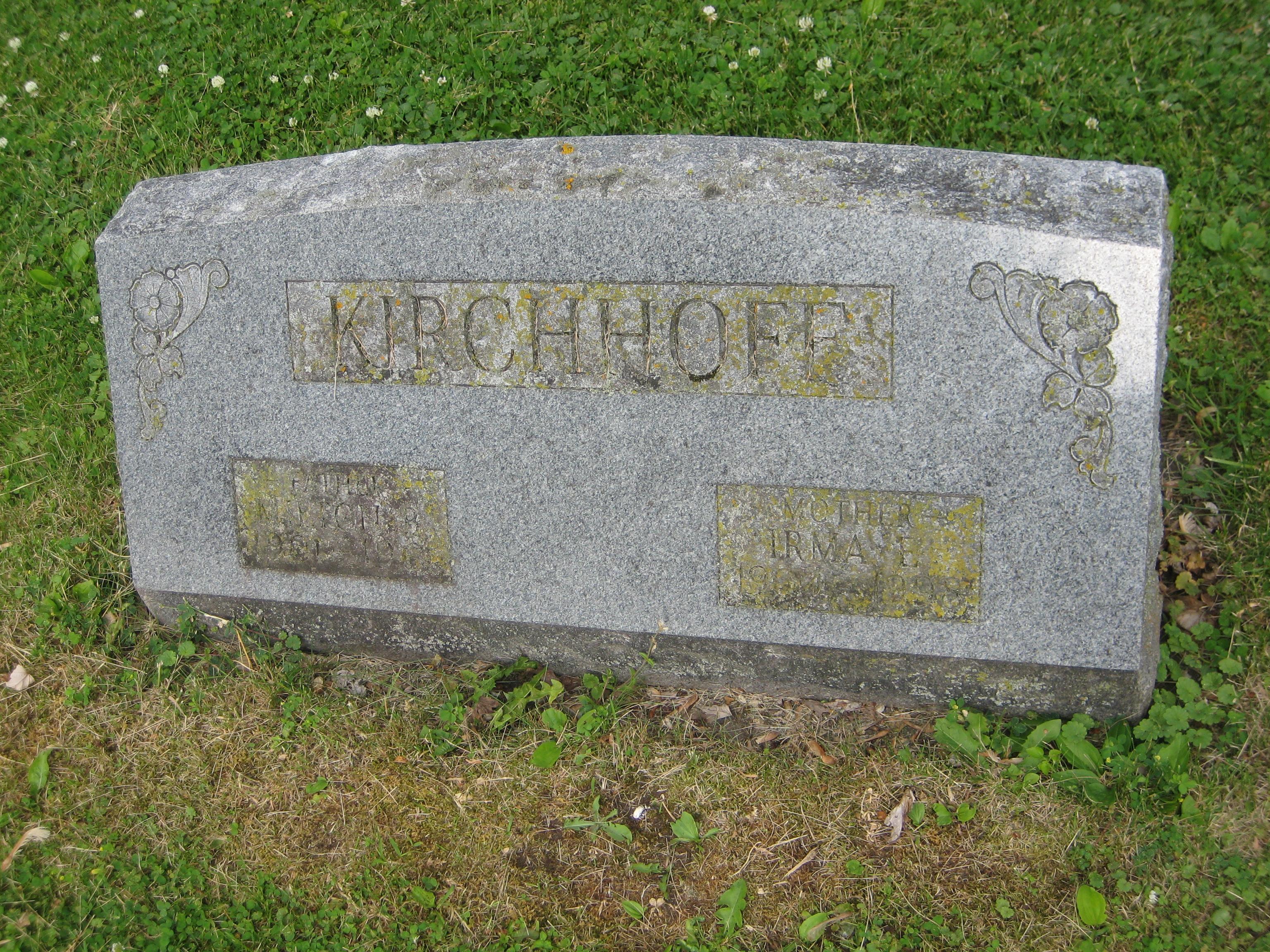 Milton Boice Kirchhoff, Gravestone