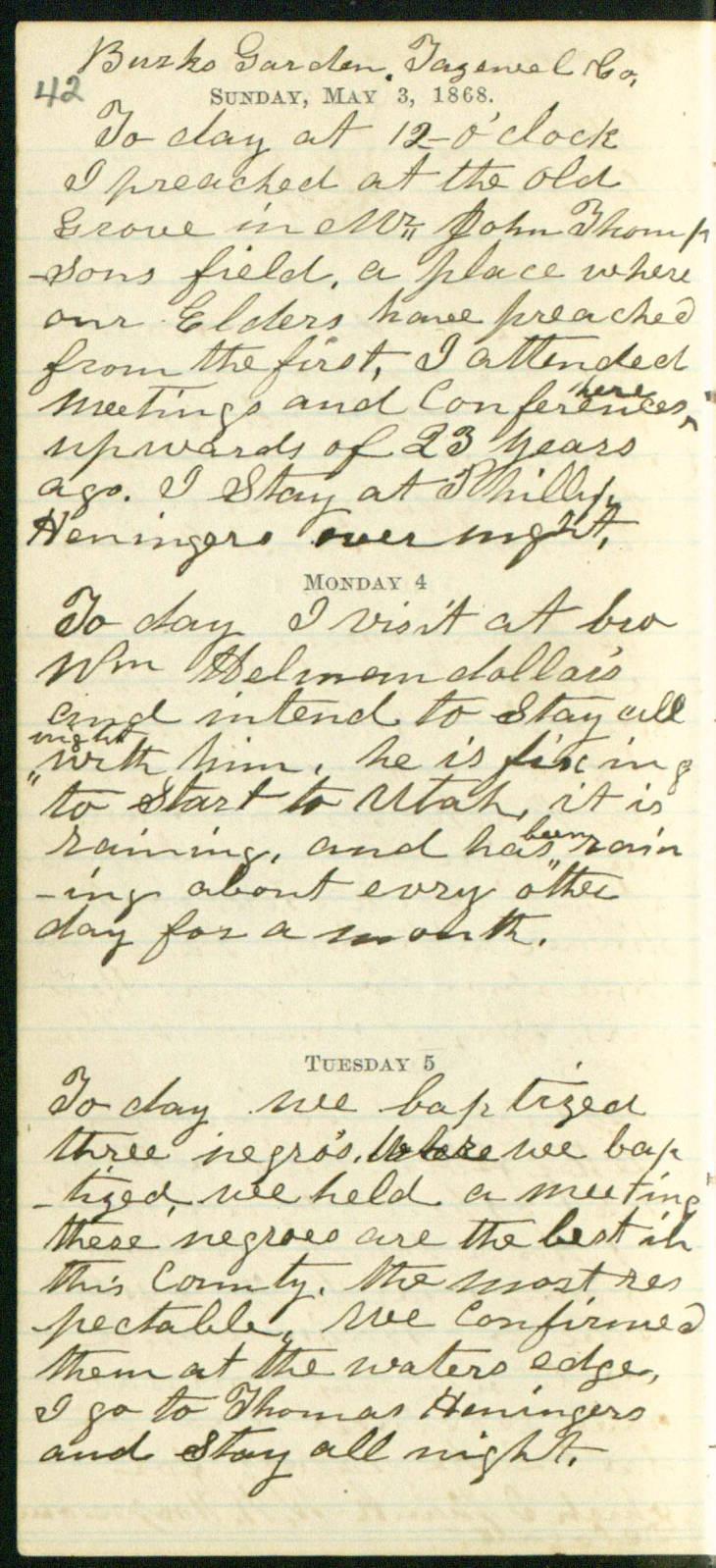 Henry Green Boyle, Diary, 1868-05-05