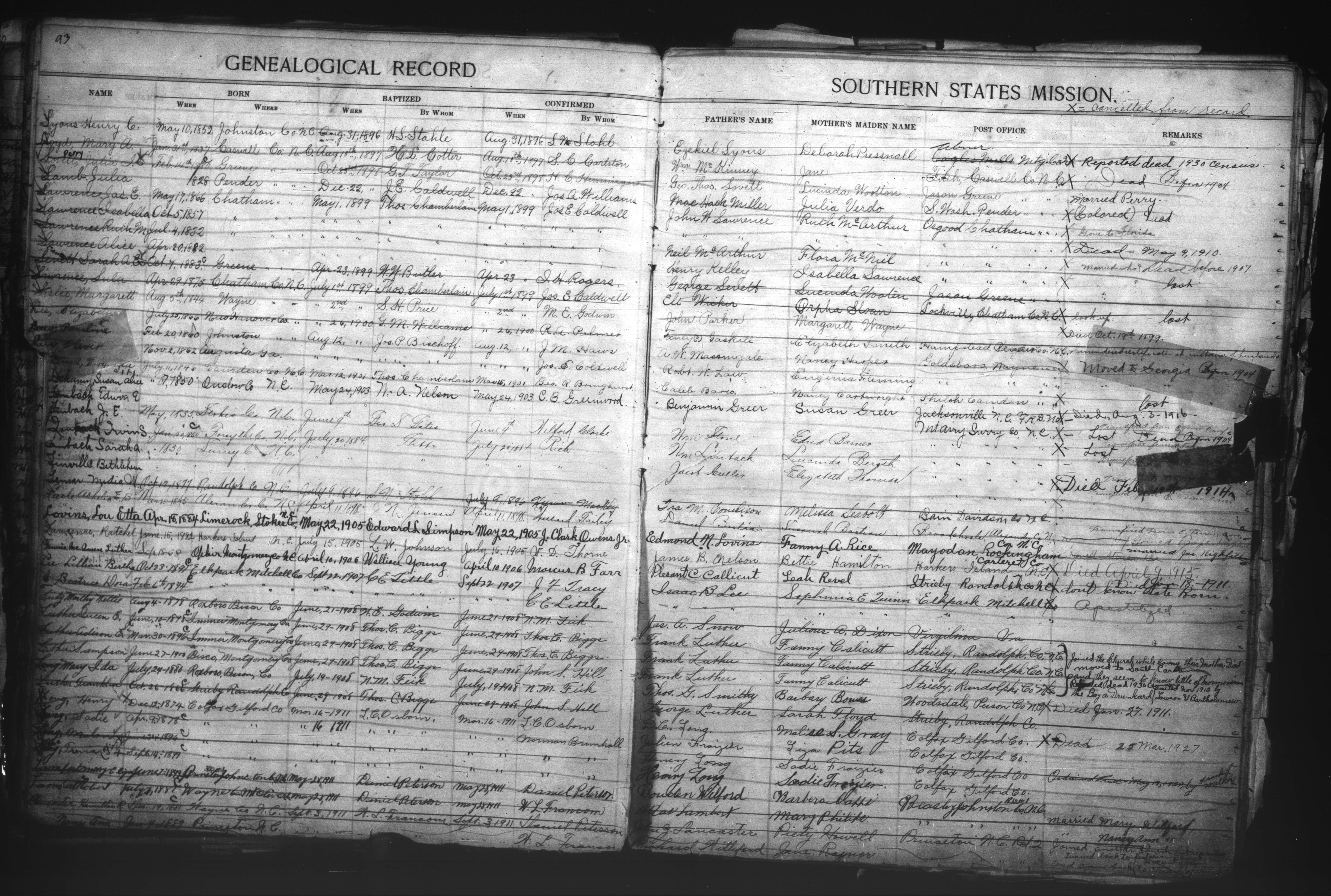 Julia Miller Lamb, Baptismal Record