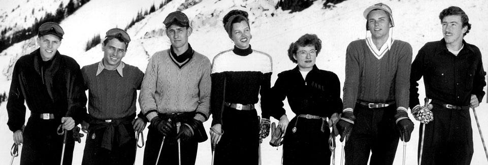 1948 Utah Olympic skiers, L to R: Jack Reddish, Dick Movitz, Dev Jennings, Brynhild Grasmoen, Ann Jeanette Winn, Boots Blatt, and Don Johnson, circa 1947