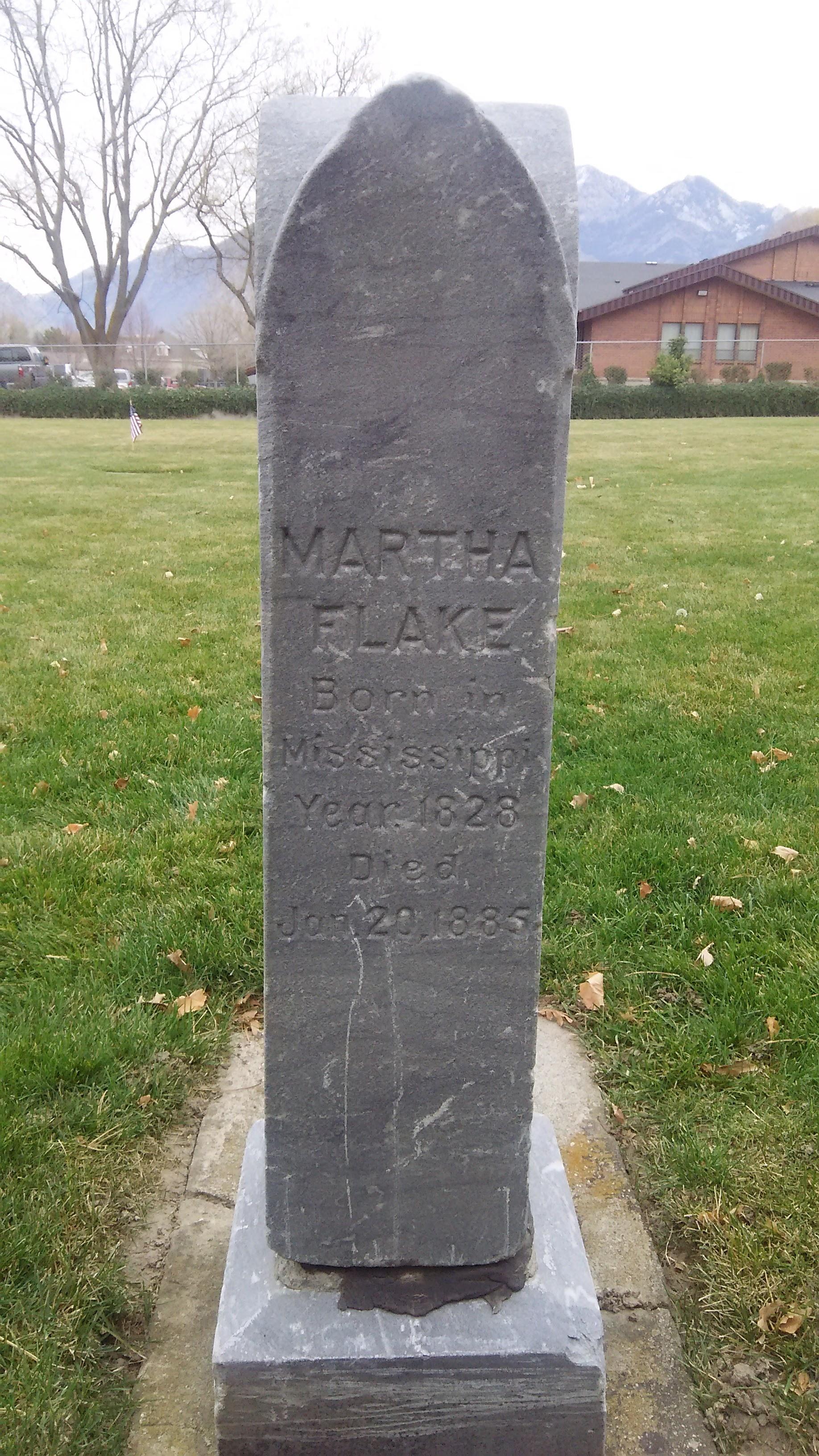 Martha Ann Morris Flake Gravestone